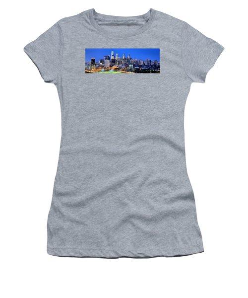 Philadelphia Skyline At Night Evening Panorama Women's T-Shirt (Athletic Fit)