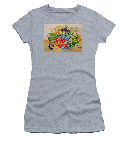 Women's T-Shirt (Junior Cut) featuring the painting  Red Apples And  Grapes Oil Painting by Johanna Bruwer