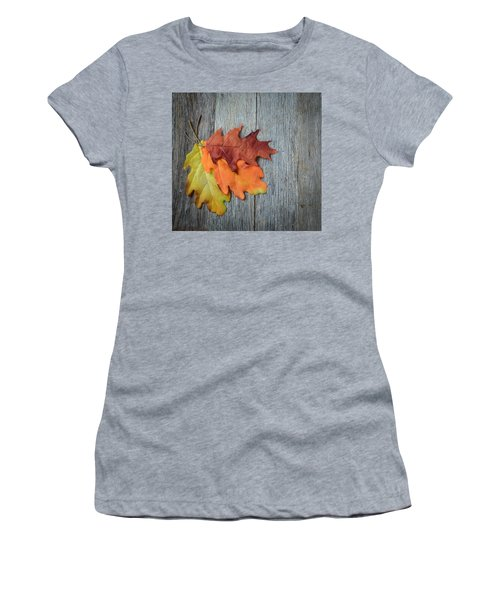 Autumn Leaves On Rustic Wooden Background Women's T-Shirt