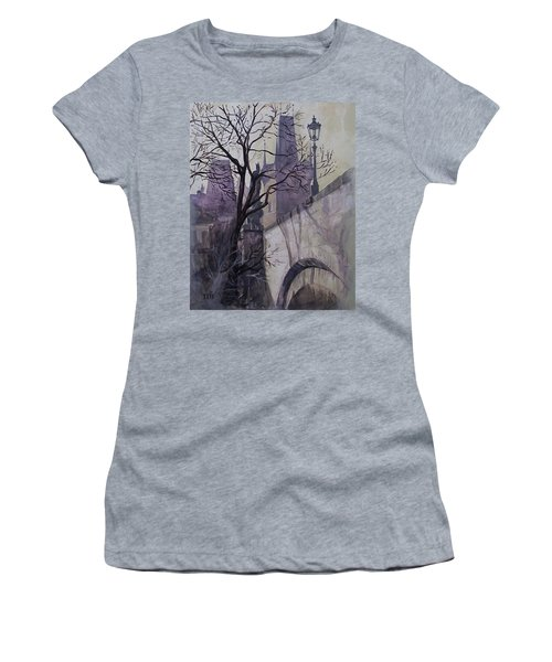 Dusk At The Charles Bridge Women's T-Shirt (Junior Cut) by Marina Gnetetsky
