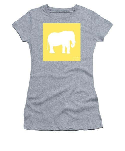 Elephant In Yellow And White Women's T-Shirt (Athletic Fit)
