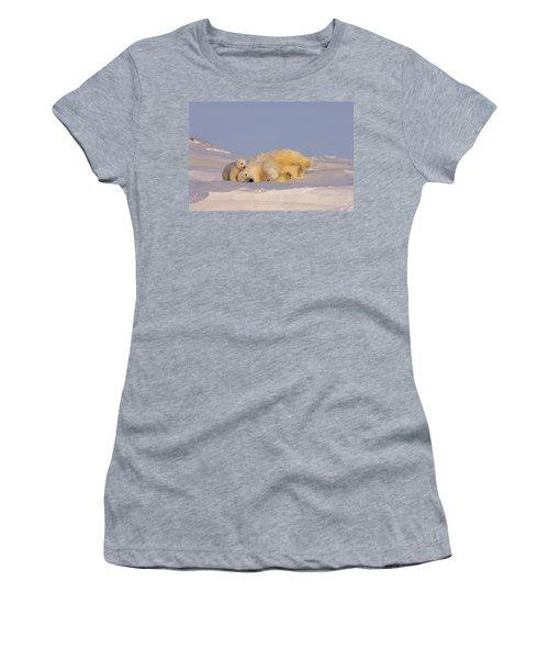 Female Polar Bear Cleans Her Coat Women's T-Shirt