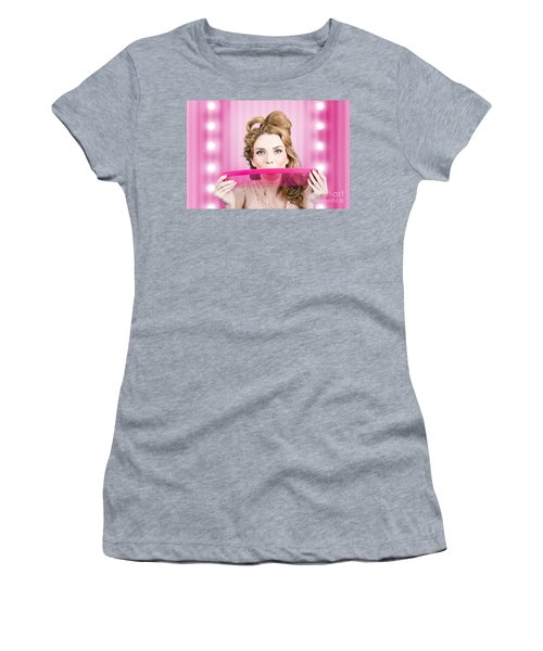 Funny Hairdresser With Cute Hairdo. Pin Up Haircut Women's T-Shirt