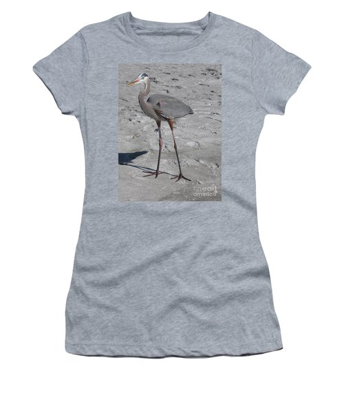 Women's T-Shirt (Junior Cut) featuring the photograph Great Blue Heron On The Beach by Christiane Schulze Art And Photography