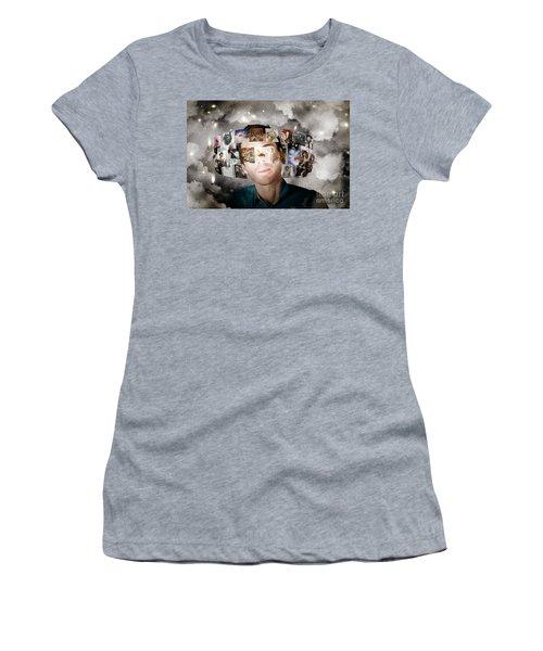 Man Streaming Media With Cloud Server Informatics Women's T-Shirt