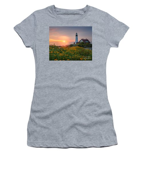 Portland Head Light Sunrise  Women's T-Shirt (Athletic Fit)