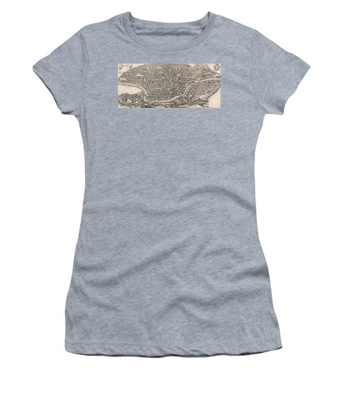 1652 Merian Panoramic View Or Map Of Rome Italy Women's T-Shirt (Junior Cut) by Paul Fearn