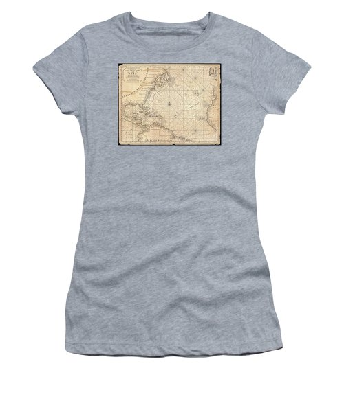 1683 Mortier Map Of North America The West Indies And The Atlantic Ocean  Women's T-Shirt (Athletic Fit)