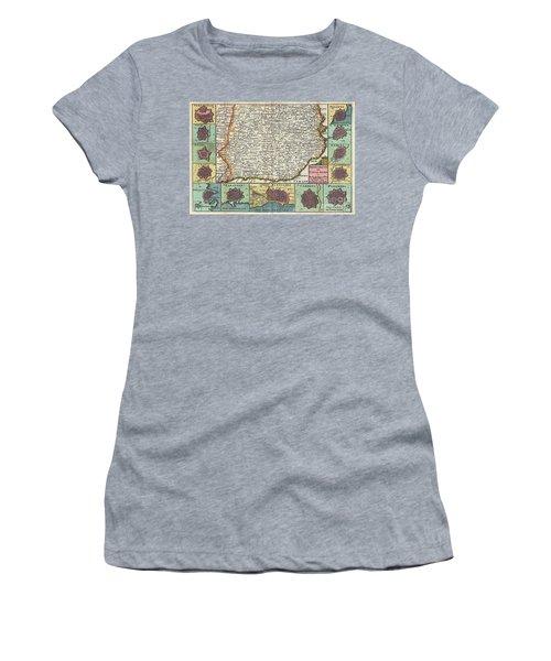 1747 La Feuille Map Of Catalonia Spain Women's T-Shirt (Athletic Fit)