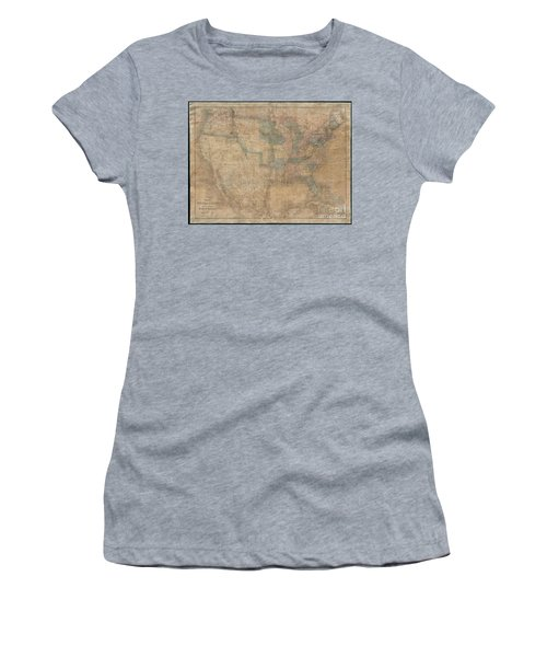 1839 Burr Wall Map Of The United States  Women's T-Shirt (Athletic Fit)