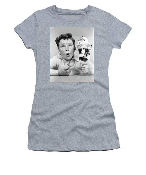 1950s Freckle Faced Boy With Funny Women's T-Shirt