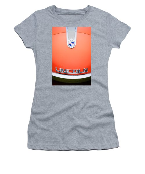 Women's T-Shirt featuring the photograph 1955 Lincoln Indianapolis Boano Coupe Emblem by Jill Reger