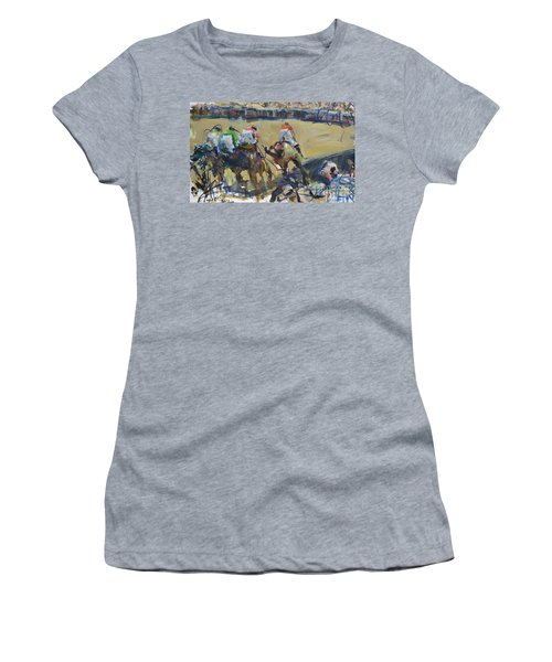 Horse Racing Painting Women's T-Shirt (Athletic Fit)