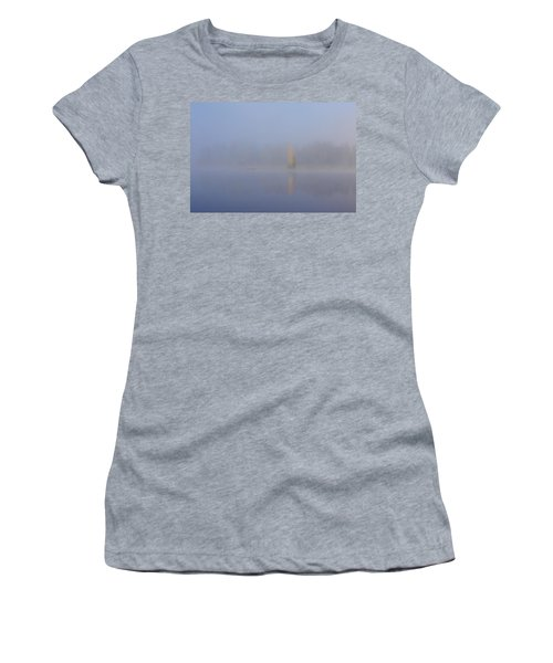 Misty Morning On A Lake. The Yellow Birch Women's T-Shirt