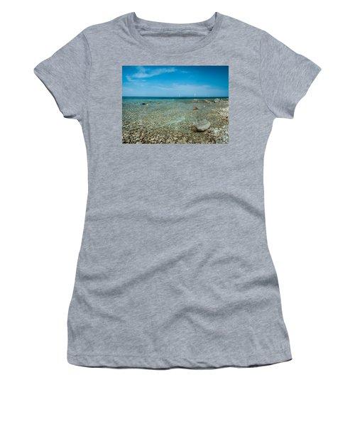 Women's T-Shirt (Junior Cut) featuring the photograph Mackinac Bridge by Larry Carr