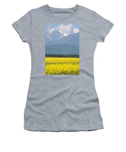 rapeseed field in Brnik with Kamnik Alps in the background Women's T-Shirt