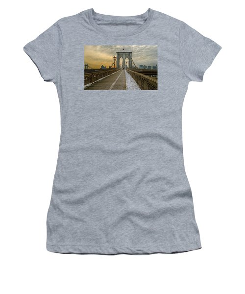 Women's T-Shirt (Junior Cut) featuring the photograph Brooklyn Bridge by Jerry Gammon