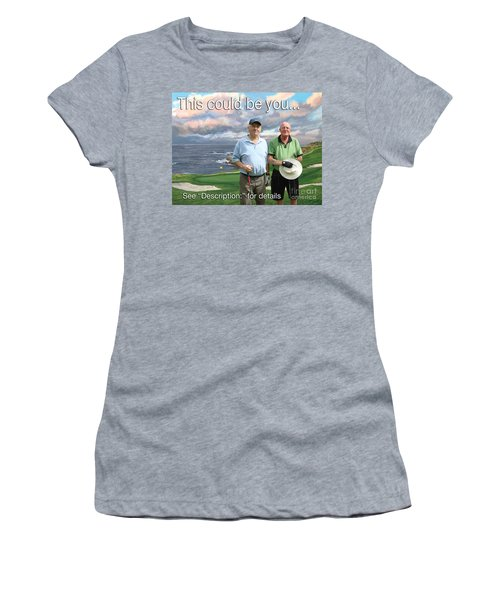 Women's T-Shirt (Junior Cut) featuring the painting 8th Hole Pebble Beach by Tim Gilliland