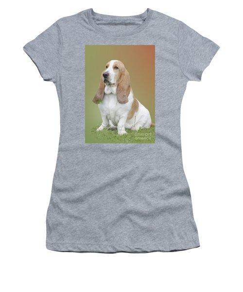 A Basset Hound Portrait Women's T-Shirt (Junior Cut) by Linsey Williams