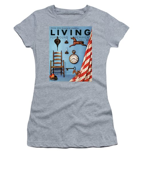 A Blue Wall With Decorations Women's T-Shirt