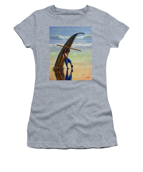A Boy And His Caballito De Totora, Peru Impression Women's T-Shirt (Athletic Fit)