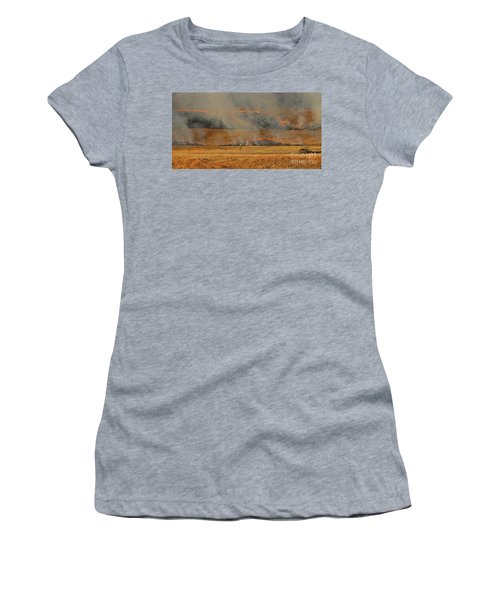 A Lone Firefighter On The Norbeck Prescribed Fire. Women's T-Shirt