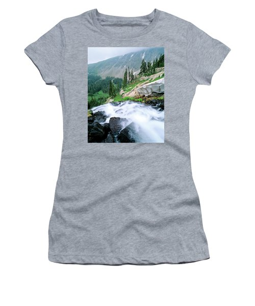 A Waterfall Flows Out Of Lake Isabelle Women's T-Shirt