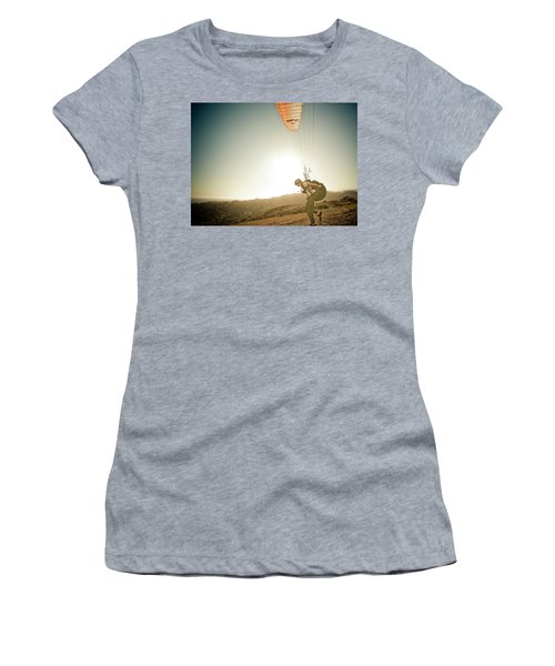 A Young Man Launches His Paraglider Women's T-Shirt