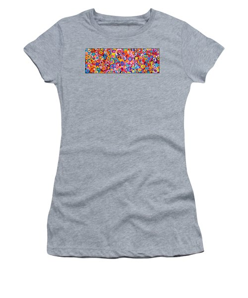 Abstract Colorful Flowers Triptych  Women's T-Shirt