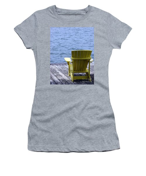 Adirondack Chair On Dock Women's T-Shirt