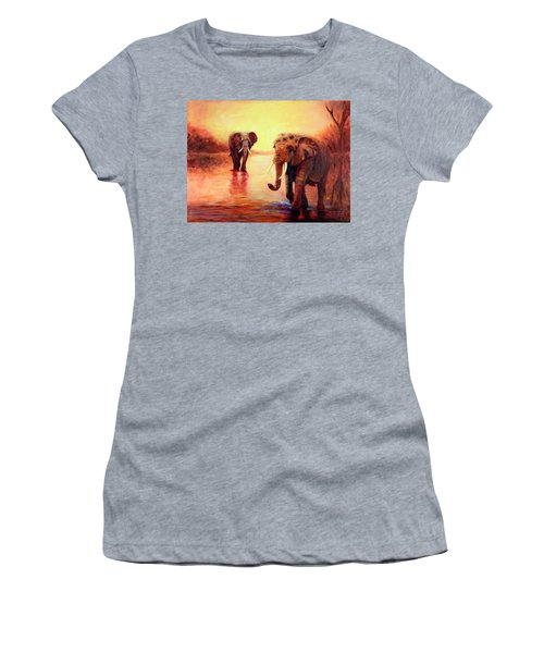 African Elephants At Sunset In The Serengeti Women's T-Shirt