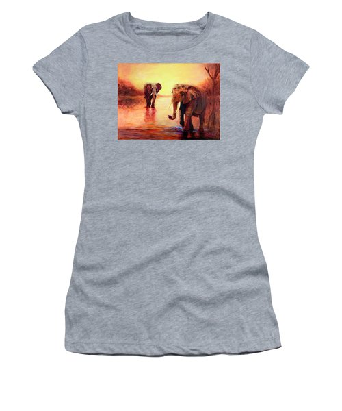 African Elephants At Sunset In The Serengeti Women's T-Shirt (Athletic Fit)