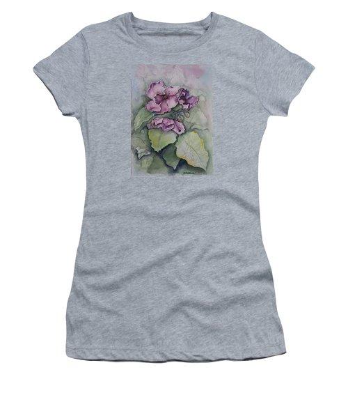 African Violets Women's T-Shirt (Junior Cut) by Rebecca Matthews