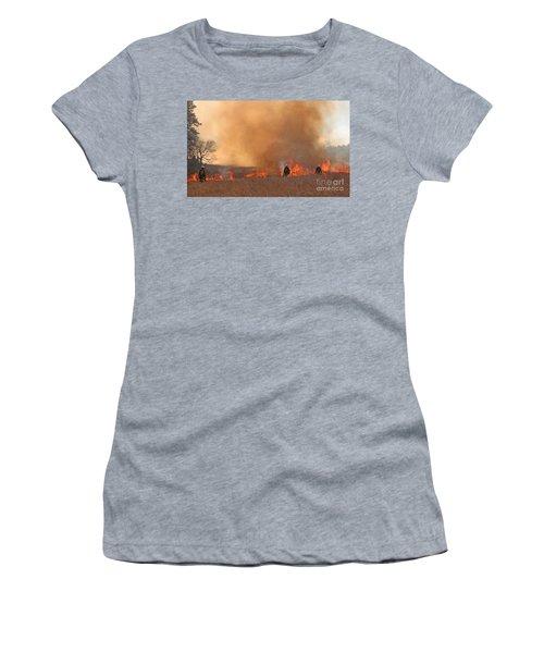 Alpine Hotshots Ignite The Norbeck Prescribed Fire. Women's T-Shirt