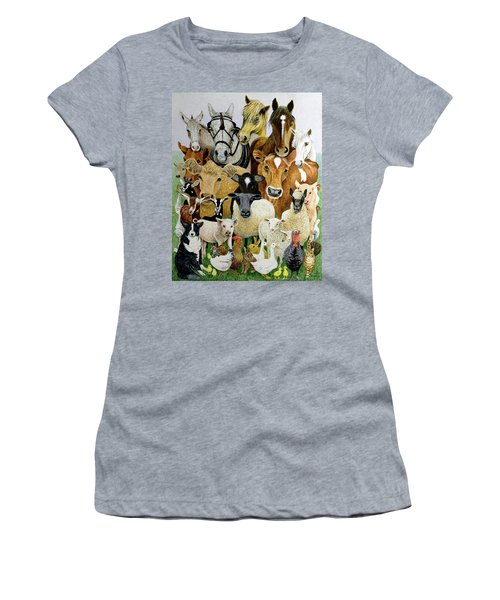 Animal Allsorts Oil On Canvas Women's T-Shirt (Athletic Fit)