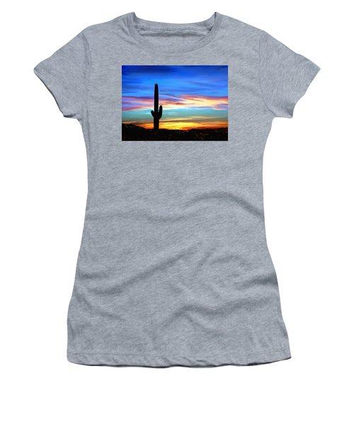 Arizona Sunset Saguaro National Park Women's T-Shirt (Athletic Fit)