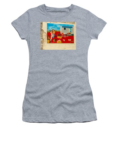 Austin - Camping Mural Women's T-Shirt (Athletic Fit)