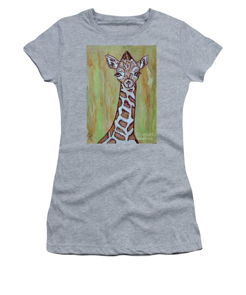 Women's T-Shirt (Junior Cut) featuring the painting Baby Longneck Giraffe by Ella Kaye Dickey