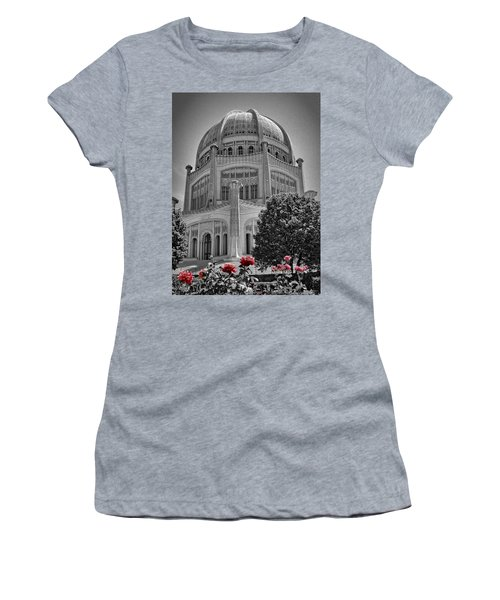 Bahai Temple Wilmette In Black And White Women's T-Shirt