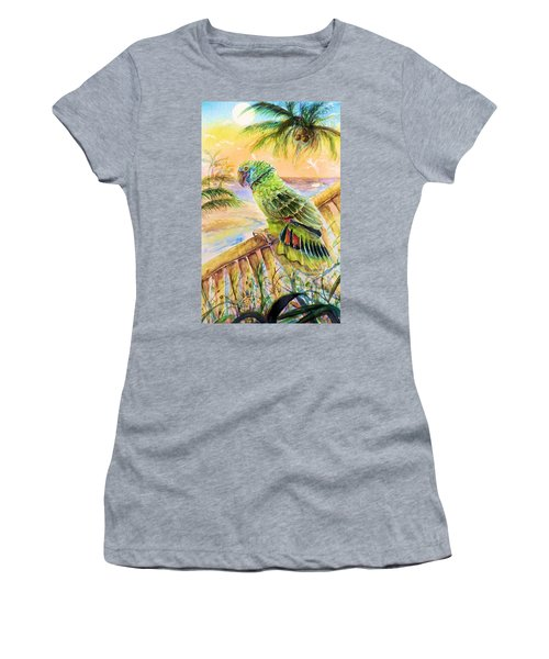 Banana Tree And Tropical Bird Women's T-Shirt (Athletic Fit)
