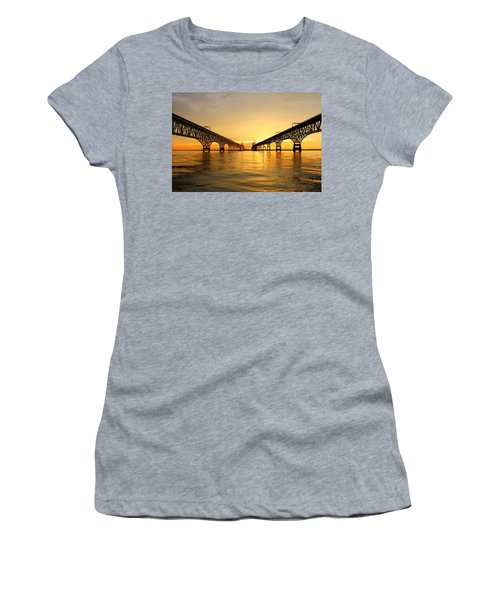 Bay Bridge Sunset Women's T-Shirt (Junior Cut)