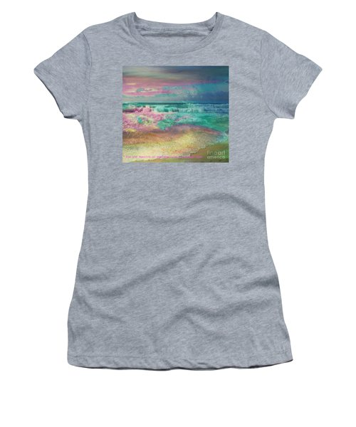 Women's T-Shirt (Junior Cut) featuring the painting Beach  Overcast by PainterArtist FIN