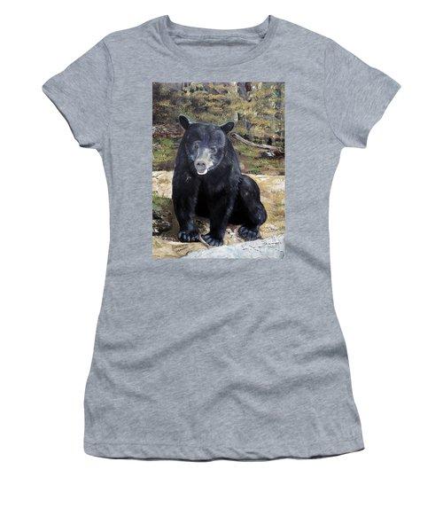 Bear - Wildlife Art - Ursus Americanus Women's T-Shirt (Junior Cut) by Jan Dappen