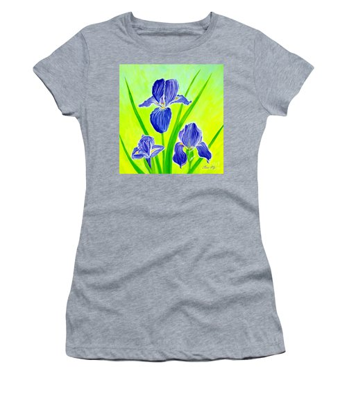 Beautiful Iris Flowers Card Women's T-Shirt (Athletic Fit)