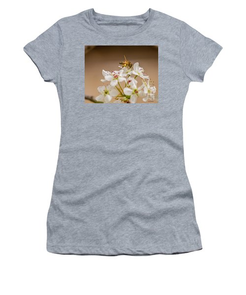 Bee Working The Bradford Pear 4 Women's T-Shirt (Junior Cut) by Allen Sheffield