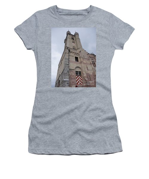 Women's T-Shirt (Junior Cut) featuring the photograph Belfry In Sluis Holland by PainterArtist FIN