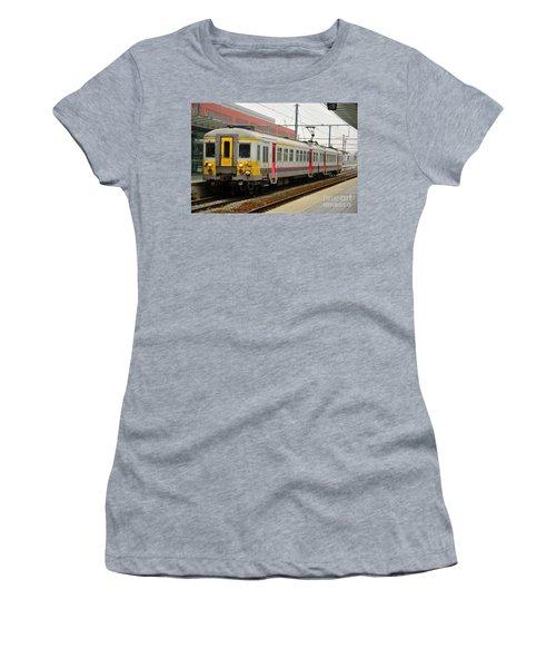 Belgium Railways Commuter Train At Brugge Railway Station Women's T-Shirt