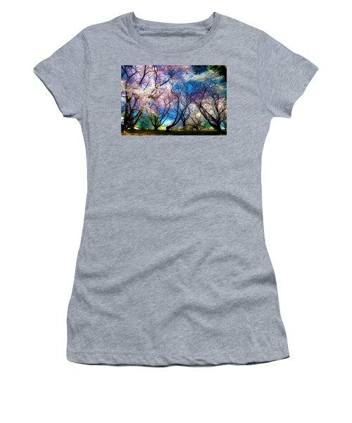 Blossom Cherry Trees Over Spring Sky Women's T-Shirt (Junior Cut) by Lanjee Chee
