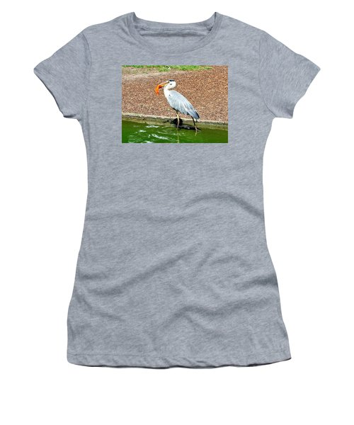 Women's T-Shirt (Junior Cut) featuring the photograph Blue Heron Feeding by Joe  Ng