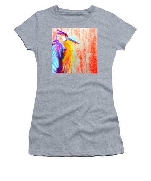 Funky Blue Heron Bird Women's T-Shirt (Athletic Fit)